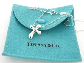 Tiffany S/ Silver Elsa Peretti Diamond Cross Necklace
