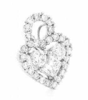 New 14k White Gold Diamond Heart Pendant