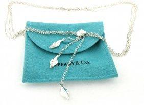Tiffany & Co. S/ Silver Three Leaf Dangle Necklace