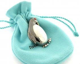 Tiffany & Co. 18k Sterling Silver Coral Penguin Brooch
