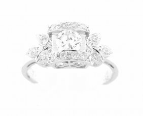 14k White Gold Diamond Ladies Solitaire Engagement Ring