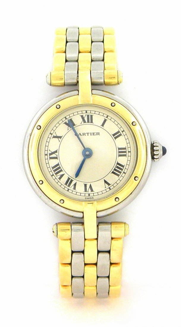 CARTIER PANTHERE LADIES 18K GOLD STAINLESS STEEL WATCH