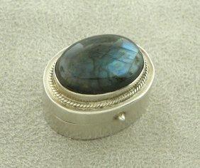 Vintage Sterling Silver Pill Or Snuff Box Labadorite