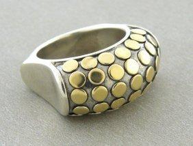 John Hardy 18k Gold Silver Large Cocktail Dot Ring