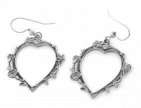 Vintage Sterling Silver Heart Flower Earrings