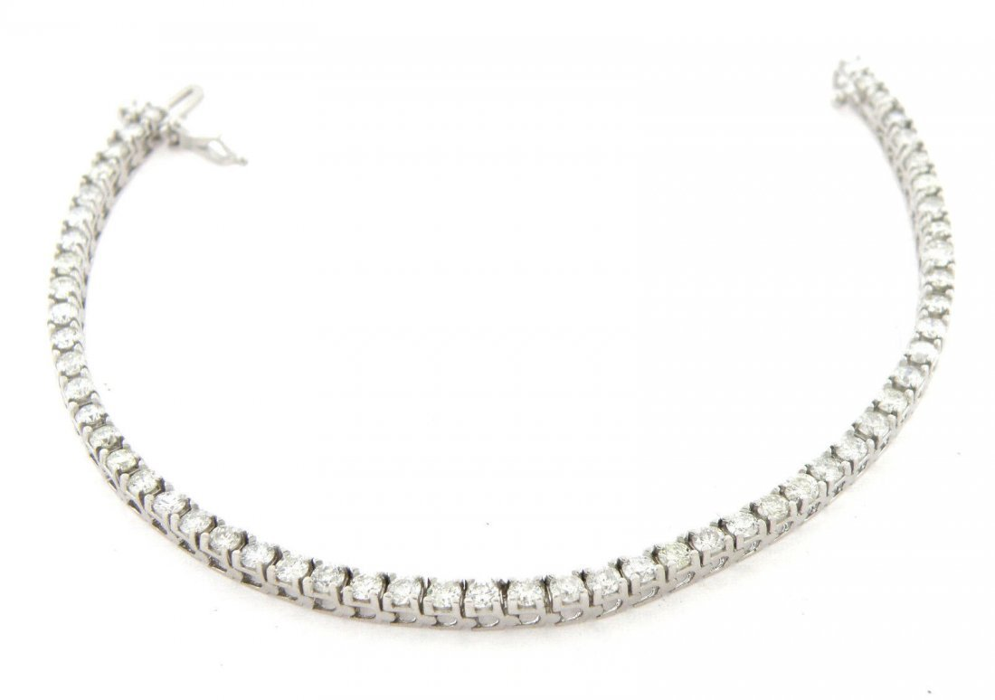 NEW 4.10ct 14K WHITE GOLD DIAMOND TENNIS LINE BRACELET