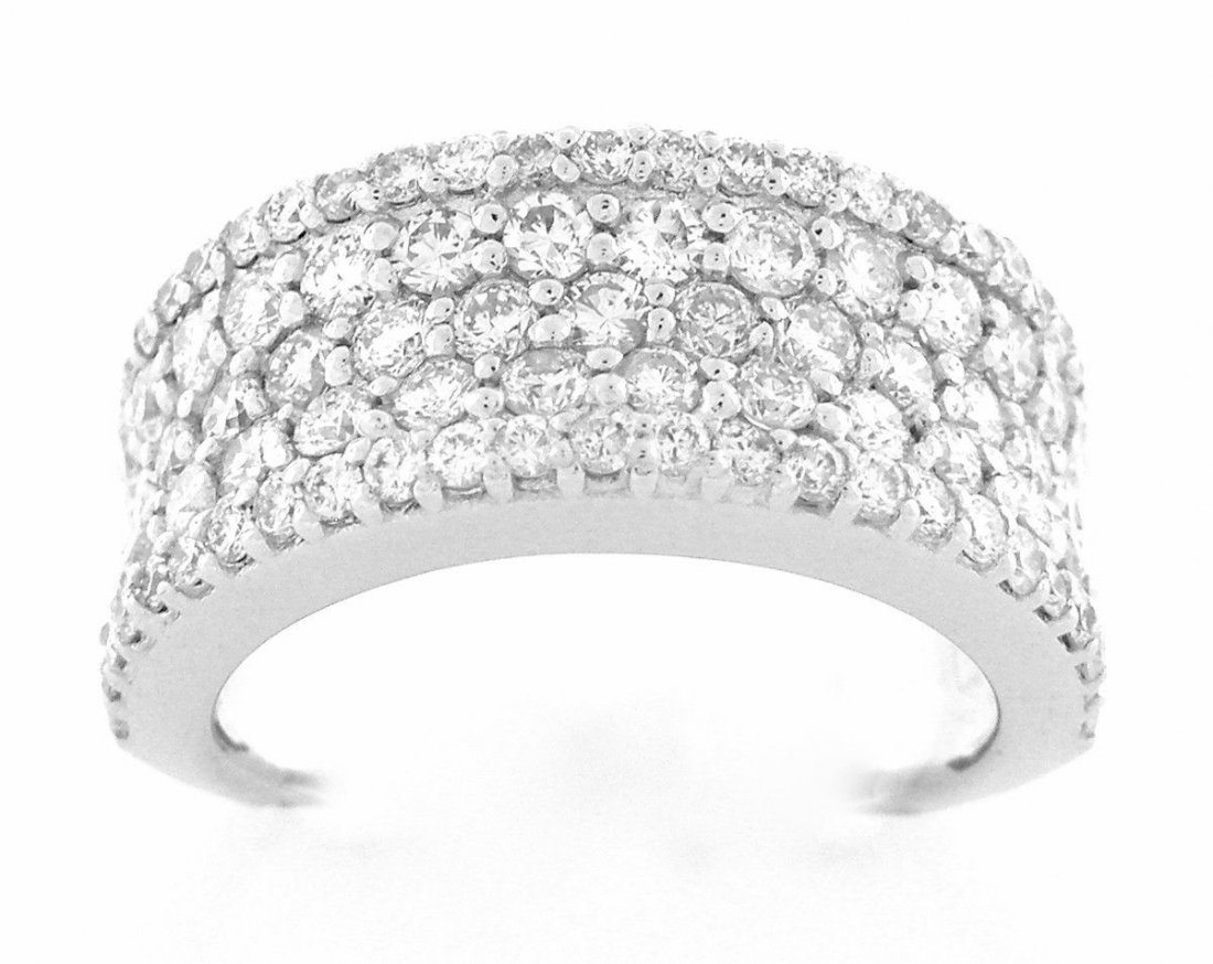 NEW 14K WHITE GOLD 5 ROW DIAMOND RING BAND 2.10ct G VS