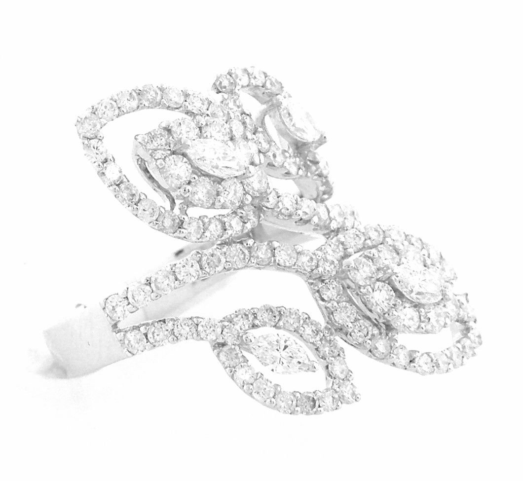 NEW 18K WHITE GOLD DIAMONDS RING MARQUISE & ROUND 2CT
