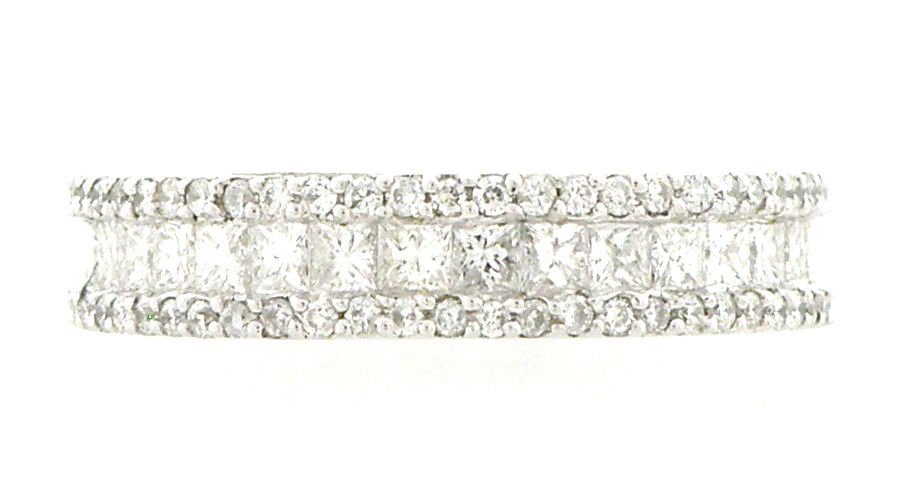 NEW 18K WHITE GOLD DIAMOND ETERNITY WEDDING BAND 2CT