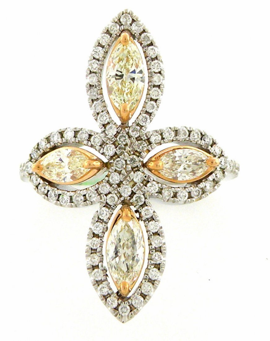 NEW 14K WHITE ROSE GOLD FANCY YELLOW DIAMONDS RING VS
