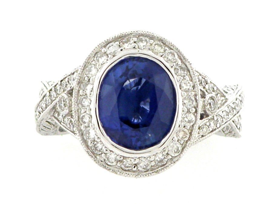 NEW 18K WHITE GOLD DIAMOND BLUE SAPPHIRE COCKTAIL RING