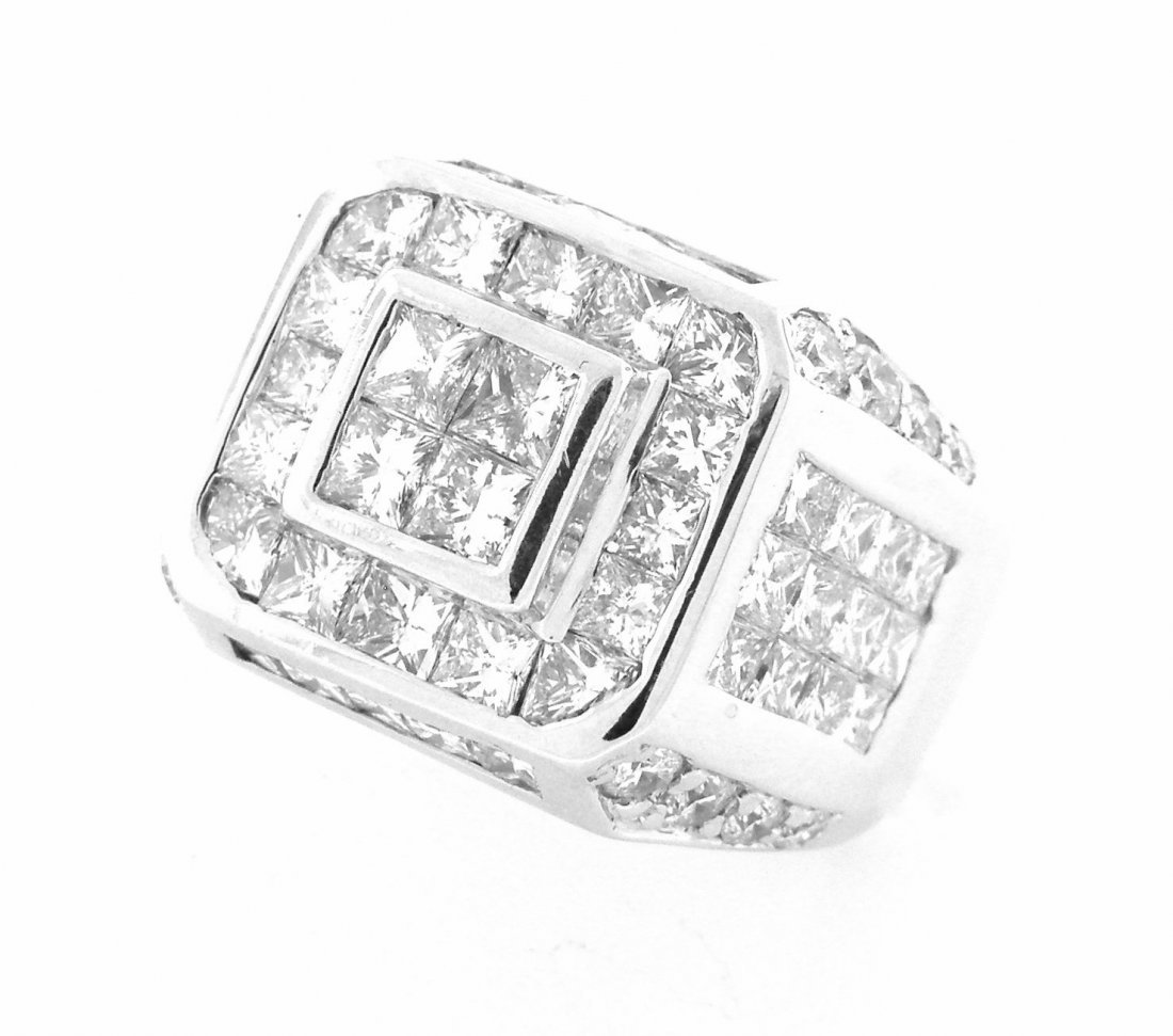 18K WHITE GOLD DIAMOND INVISIBLE SET MEN'S RING 4.50ct