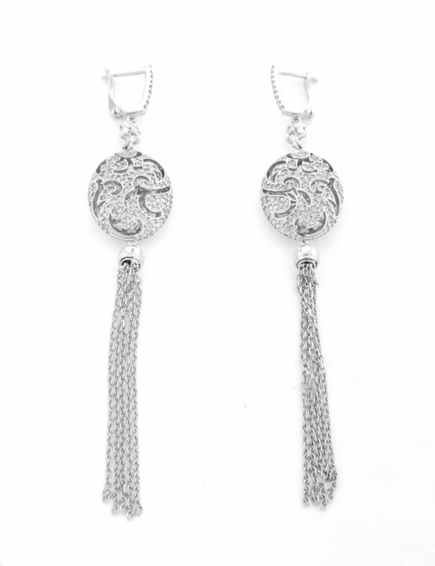 NEW 18K WHITE GOLD DIAMOND CHANDELIER TASSLE EARRINGS