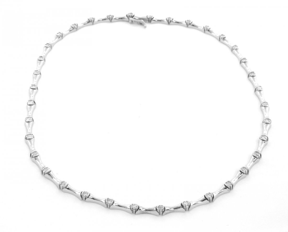 "NEW 14K WHITE GOLD LADIES DIAMOND NECKLACE 16"" 1.67ct"""