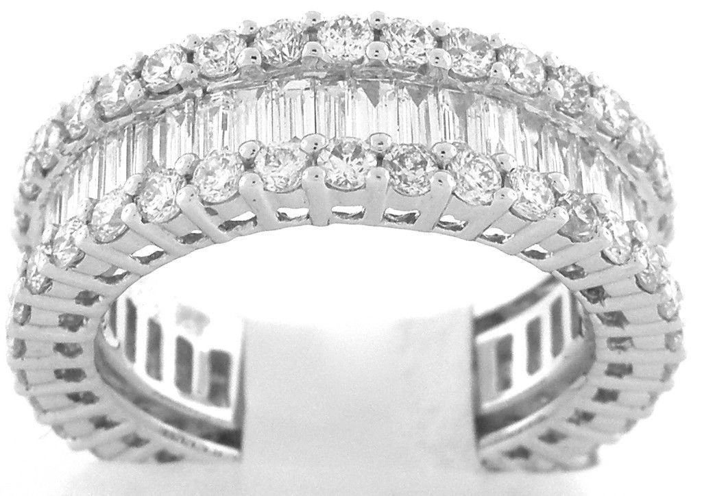 18K W/ GOLD DIAMOND BAGUETTE ROUND RING 3CT G VS