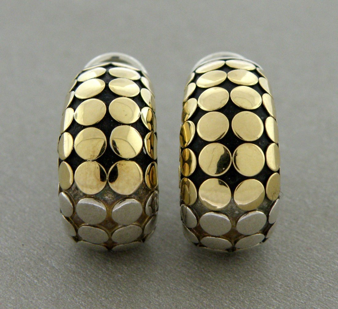 JOHN HARDY 18K GOLD STERLING SILVER DOT HUGGIE EARRINGS