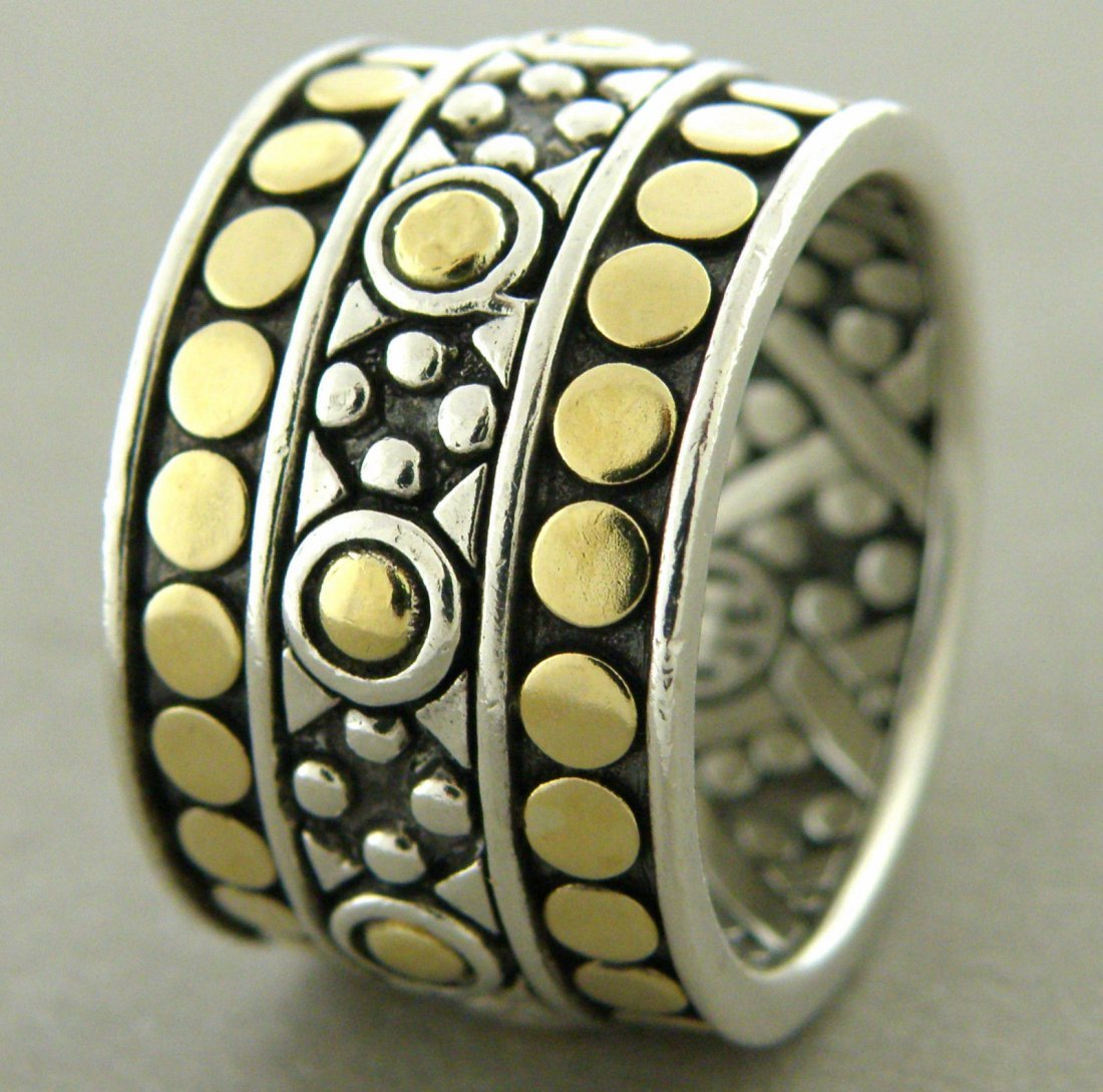 JOHN HARDY 18K SILVER LARGE COCKTAIL DOT BAND RING