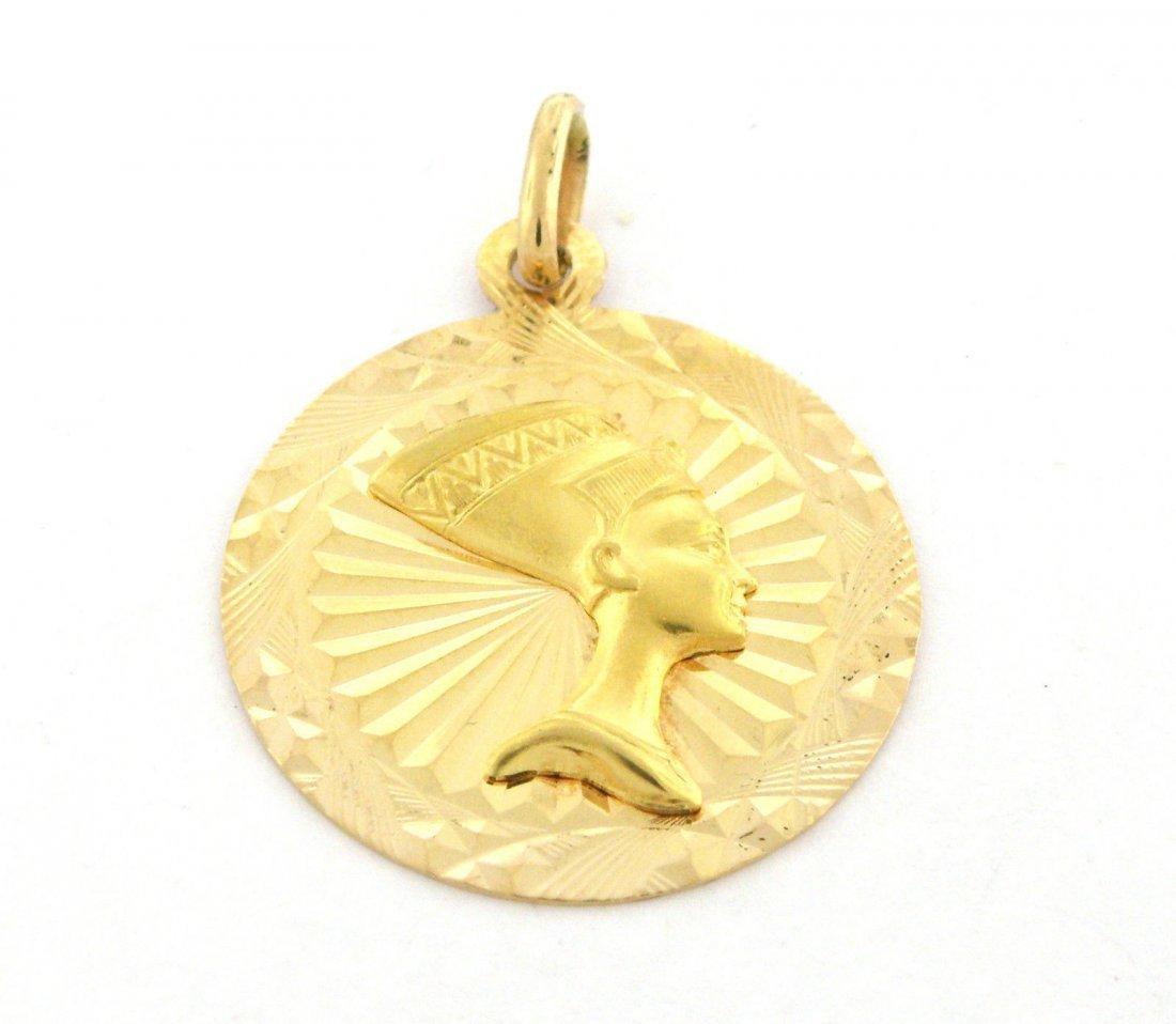 VINTAGE 18K YELLOW GOLD ROUNND PENDANT EGYPTIAN PHARAOH