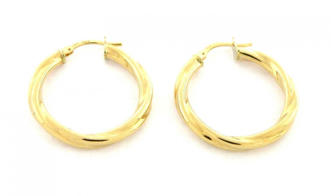 NEW 14K YELLOW GOLD HUGGIE TWIST HOOP EARRINGS