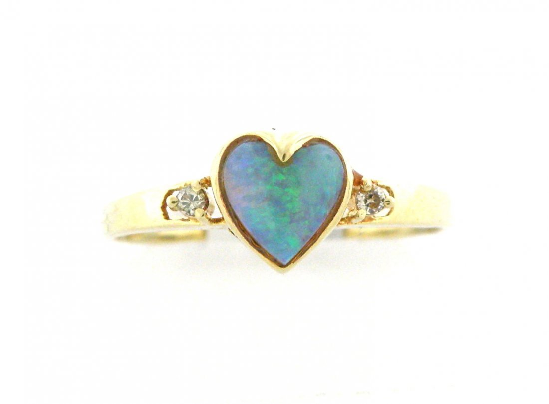 NEW 14K YELLOW GOLD DIAMONDS AND OPAL RING, UNIQUE
