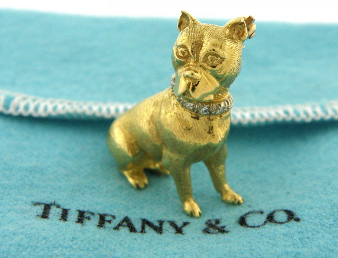 TIFFANY & Co. 18K YELLOW GOLD DIAMOND DOG BROOCH PIN