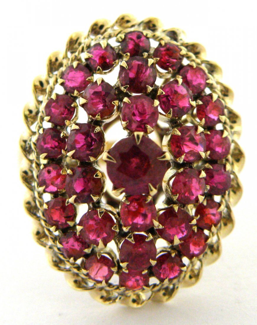 VINTAGE 14K YELLOW GOLD RUBY COCKTAIL CLUSTER RING