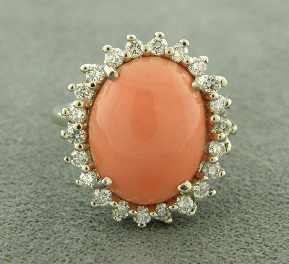 VINTAGE 14K W/GOLD UNTREATED CORAL DIAMOND HALO RING