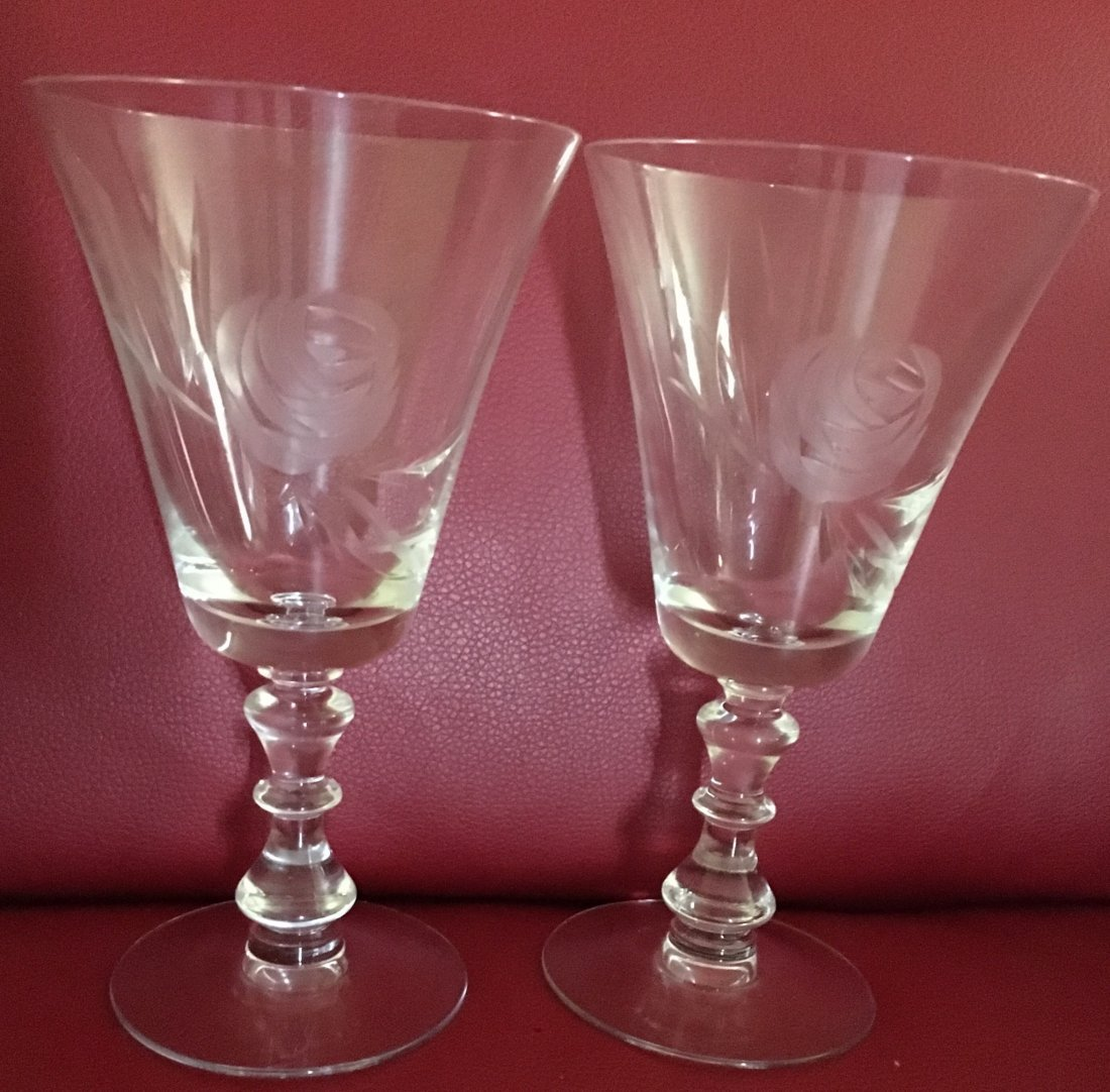 A pair of Etched Rose Cocktail Glasses