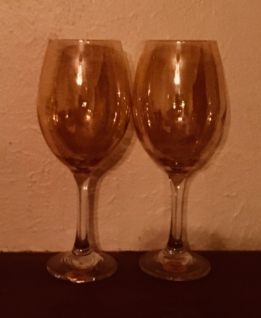 A Pair of Italian Amber Wine Glasses