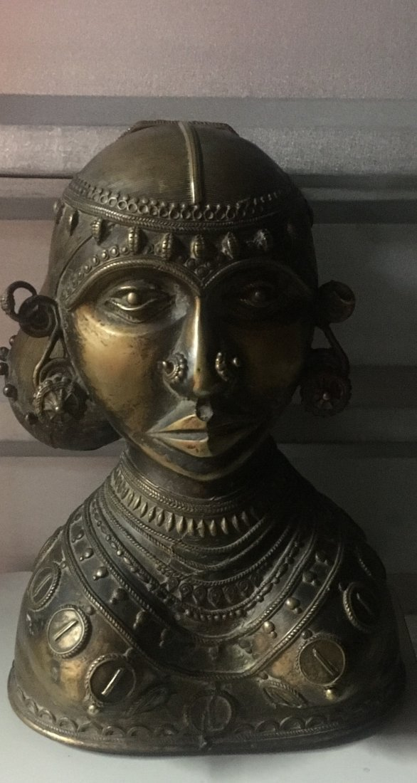 Yoruba Bare Breast Bronze Head