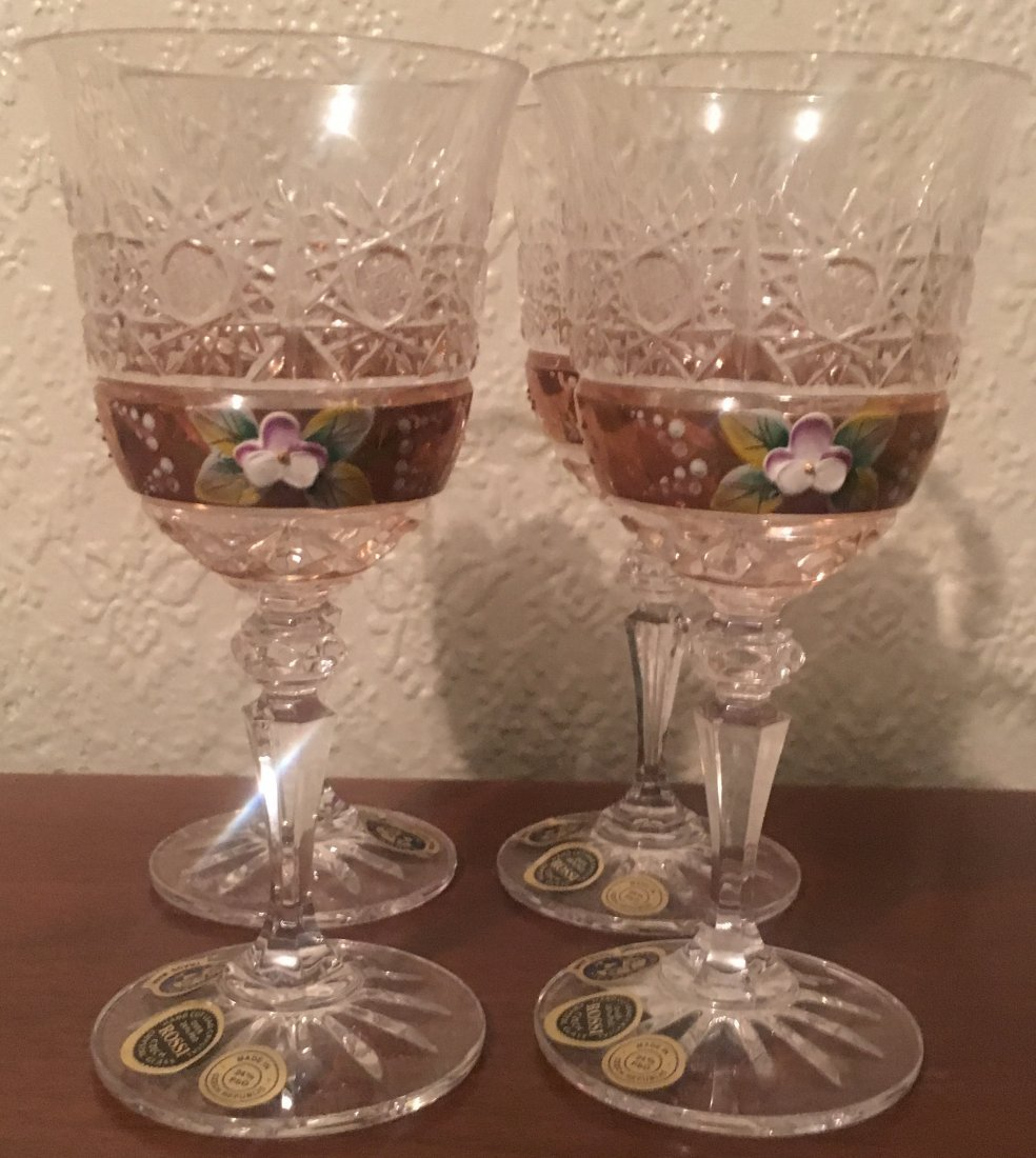 (4)Rossi 24K Hand Cut Crystal Bohemian Glasses