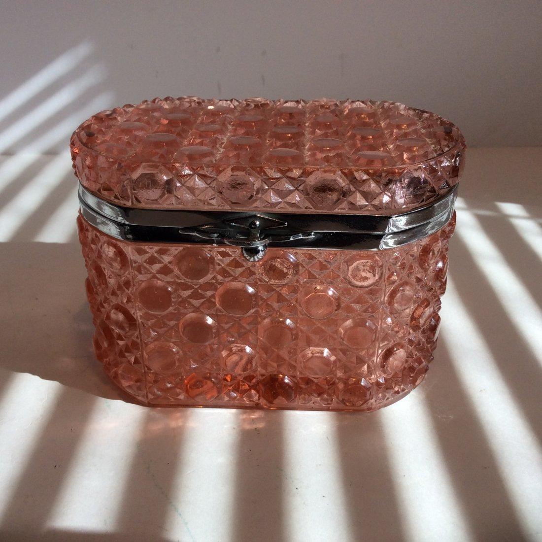 Antique pink glass trinket box