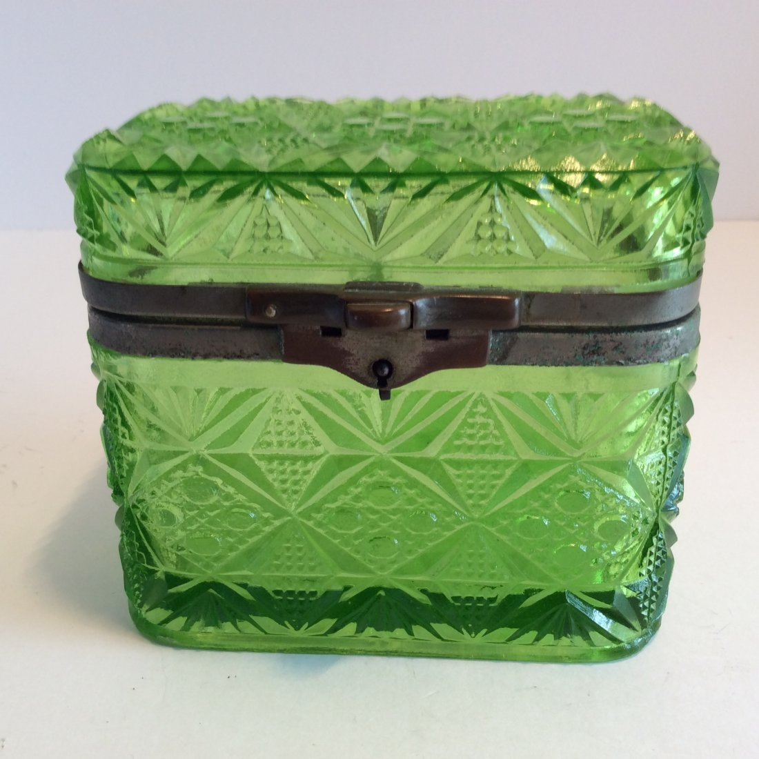 Antique Russian green trinket box