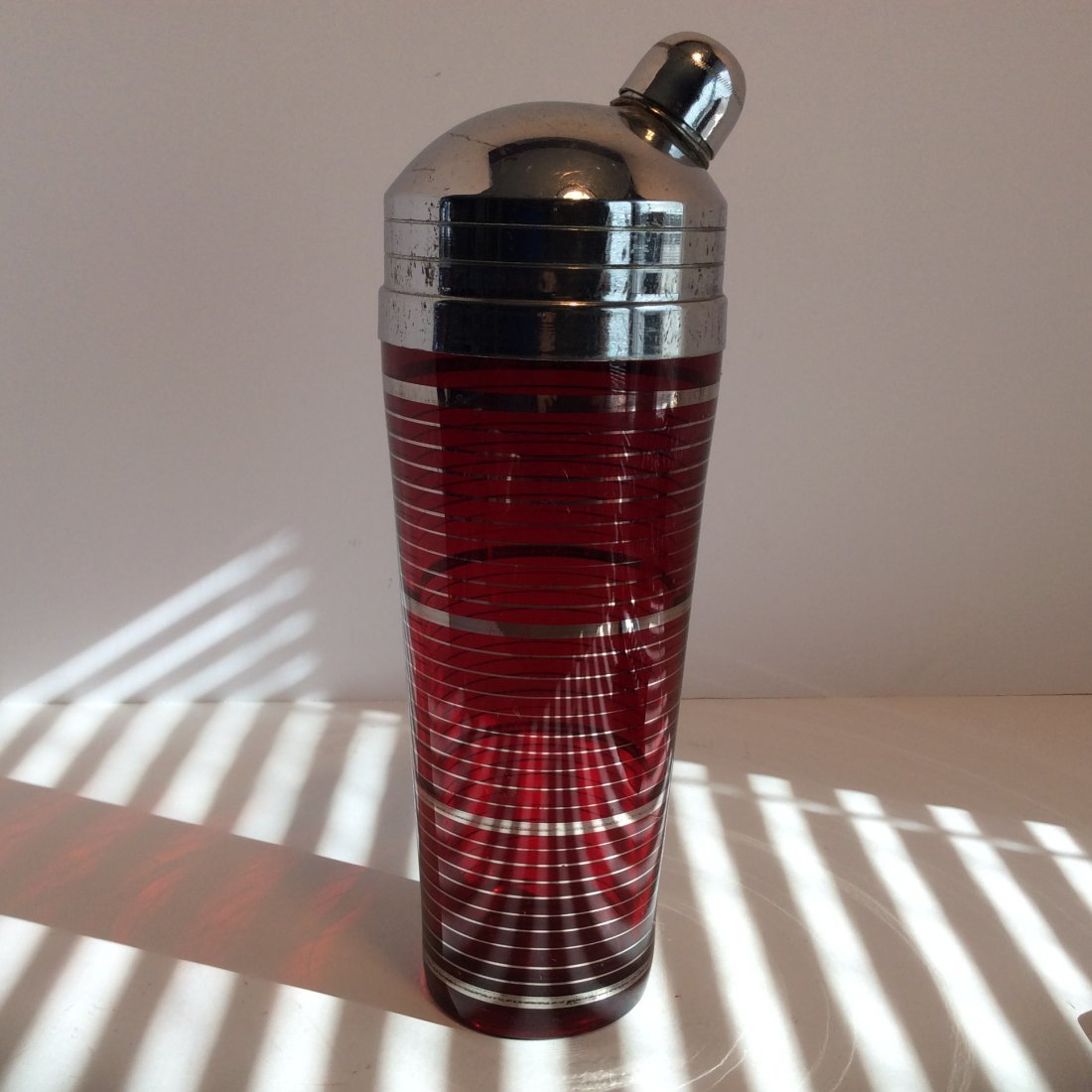 Cocktail Shaker/ Cranberry Glass/ Silver Overlay