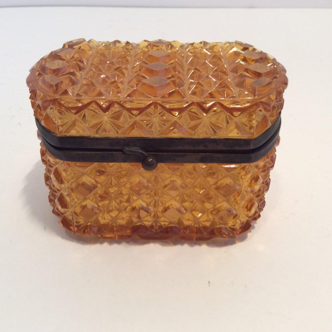 Antique Amber Glass French Trinket Box