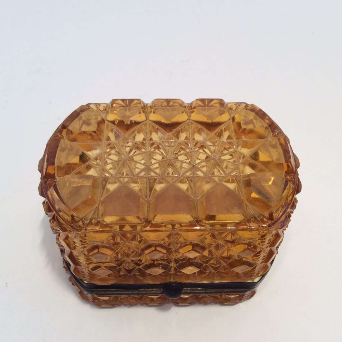 Antique Amber Glass French Trinket Box - 2