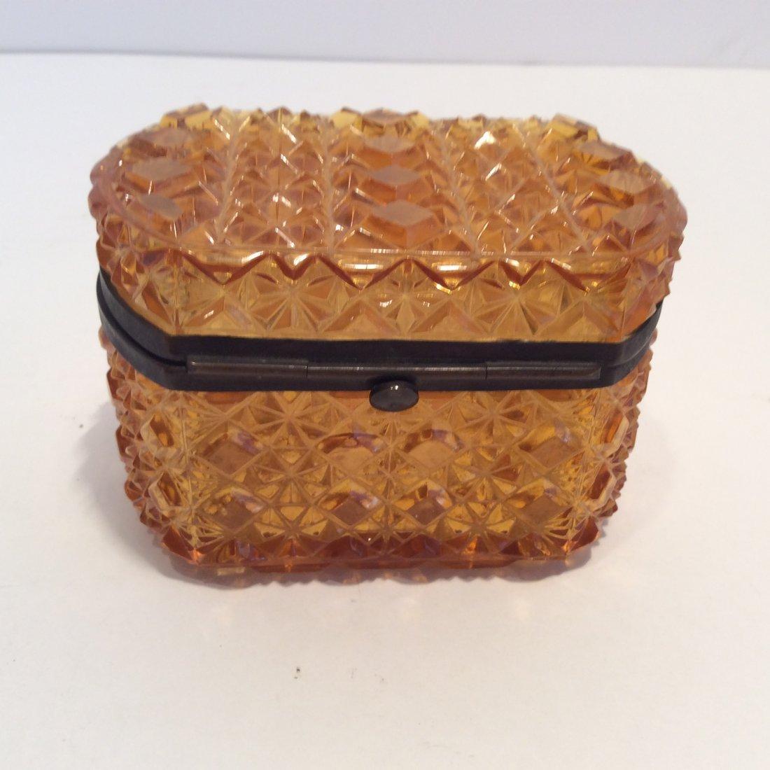 Antique Amber Glass French Trinket Box - 3