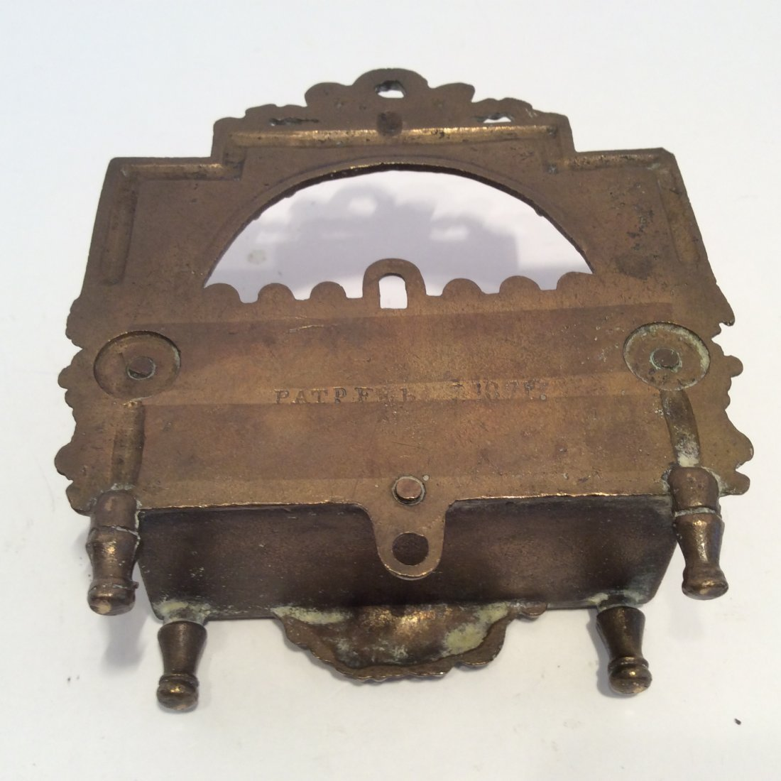 Antique miniature bronze 1871 match chest / safe - 2