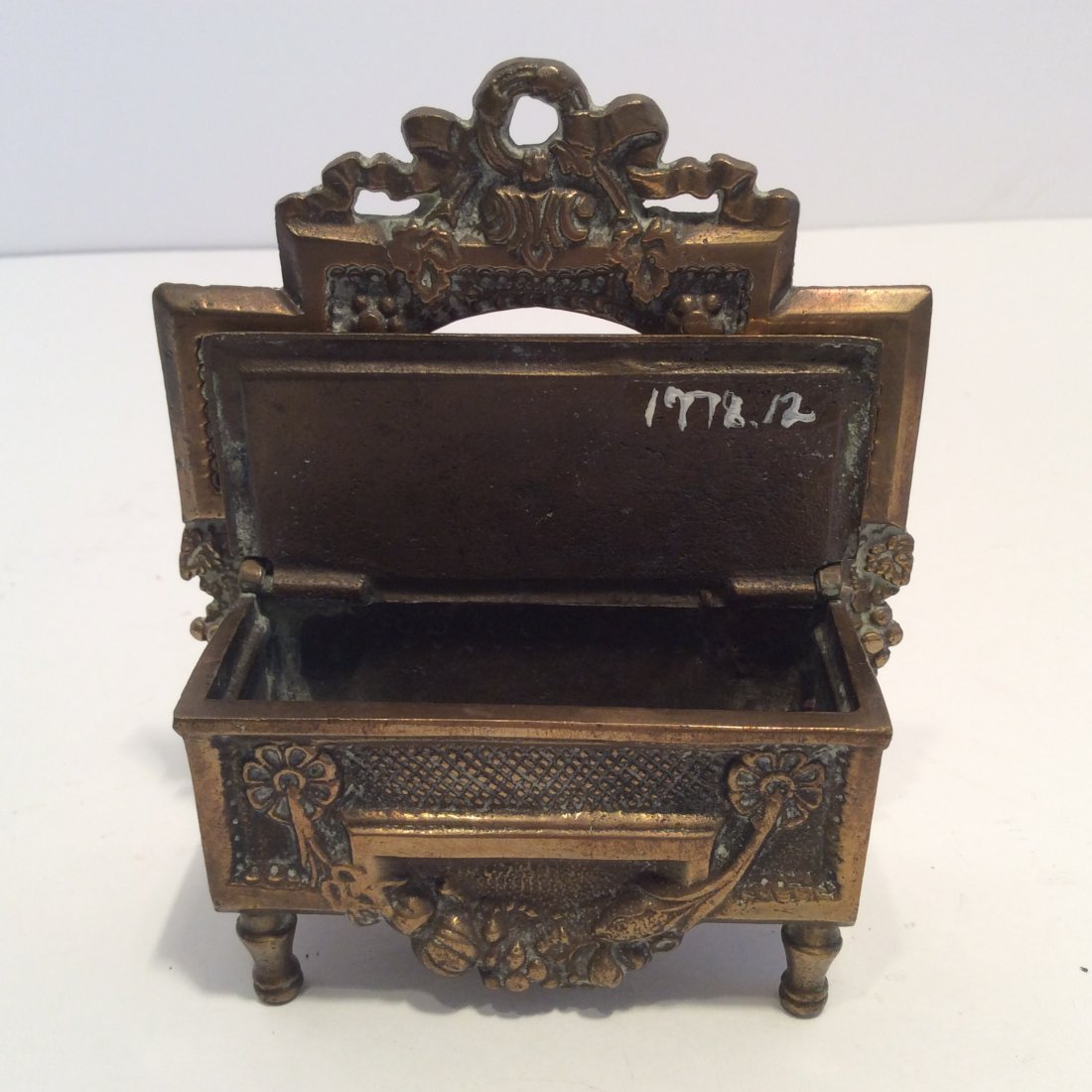 Antique miniature bronze 1871 match chest / safe - 3