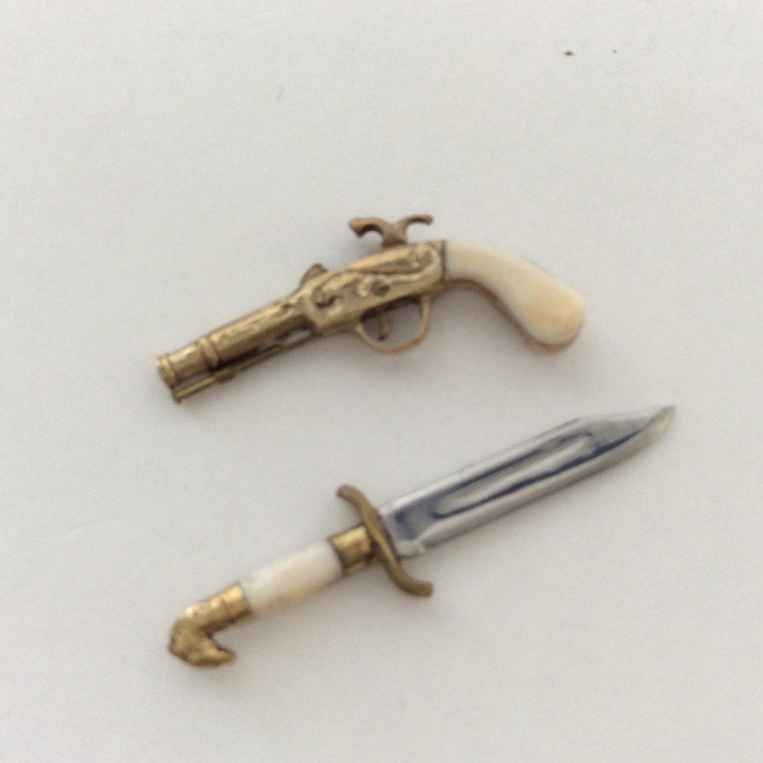 Antique 14k Miniature Percussion Pistol and Dagger