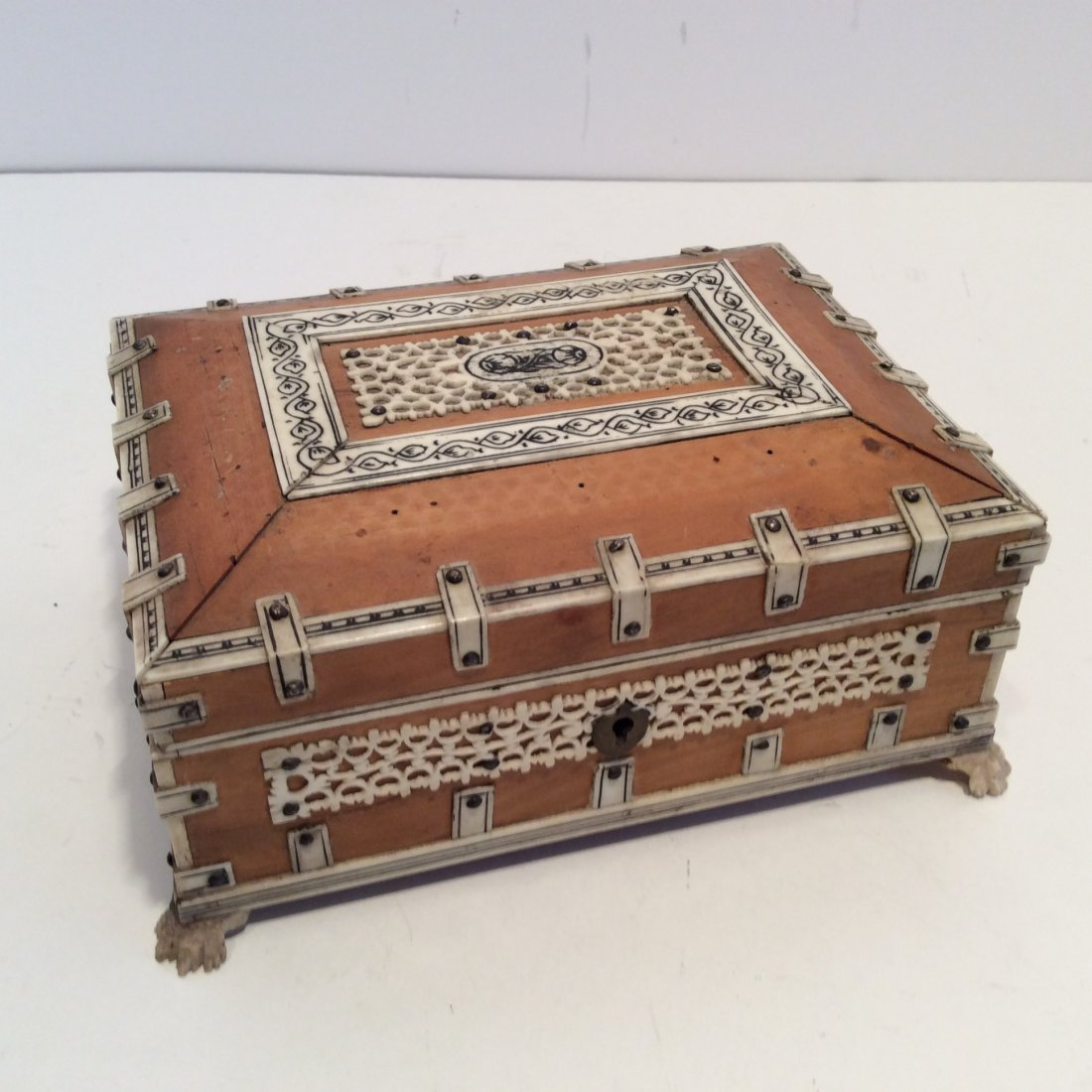 Antique Confectioners Jewelry Box Rose Wood 1880s