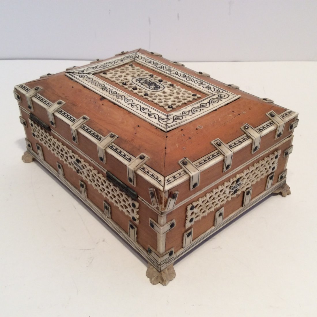 Antique Confectioners Jewelry Box Rose Wood 1880s - 2