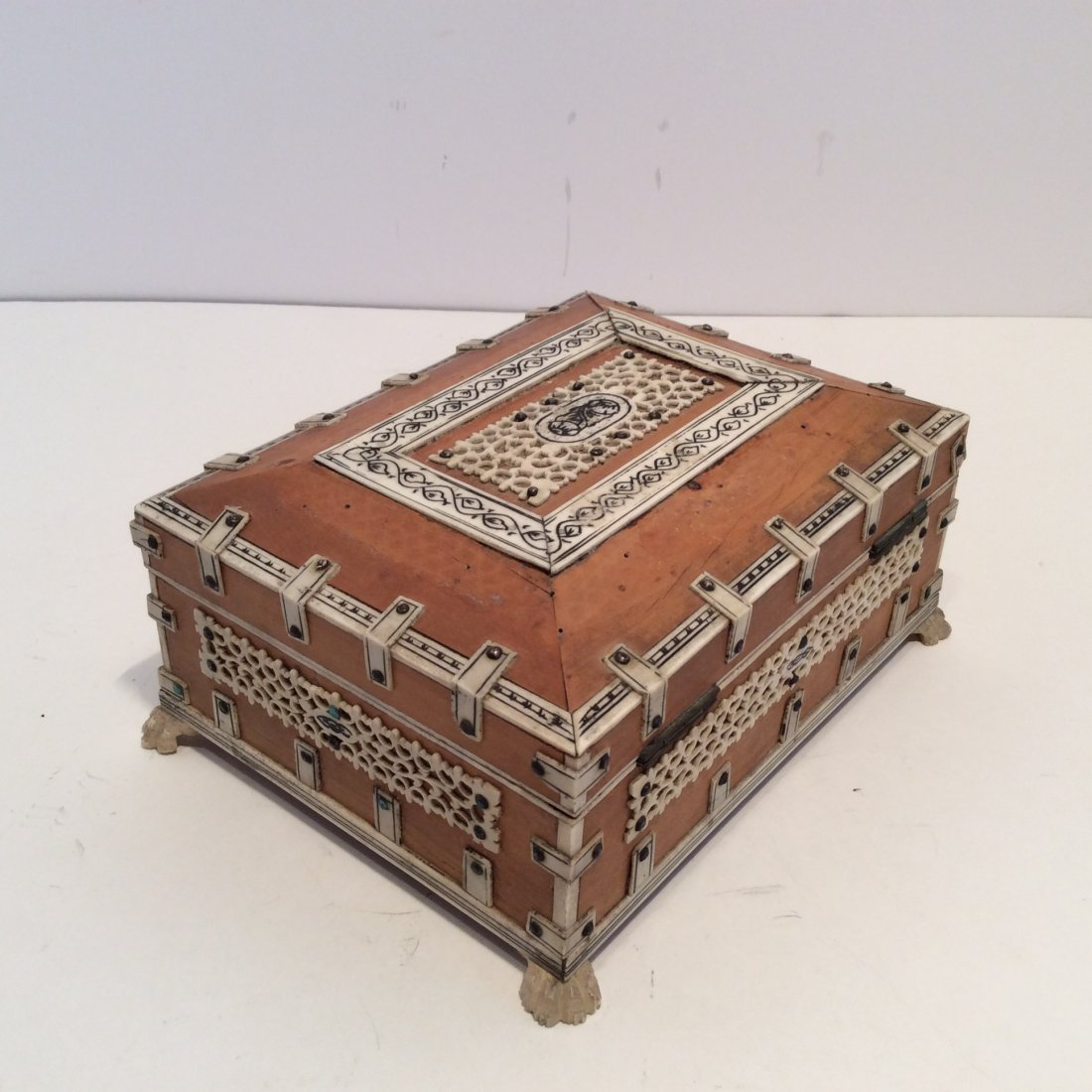 Antique Confectioners Jewelry Box Rose Wood 1880s - 3