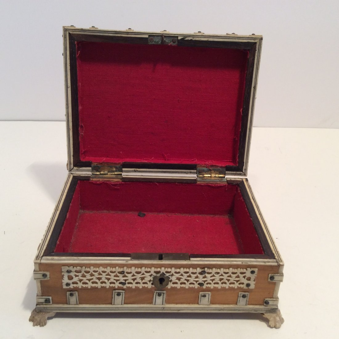 Antique Confectioners Jewelry Box Rose Wood 1880s - 4
