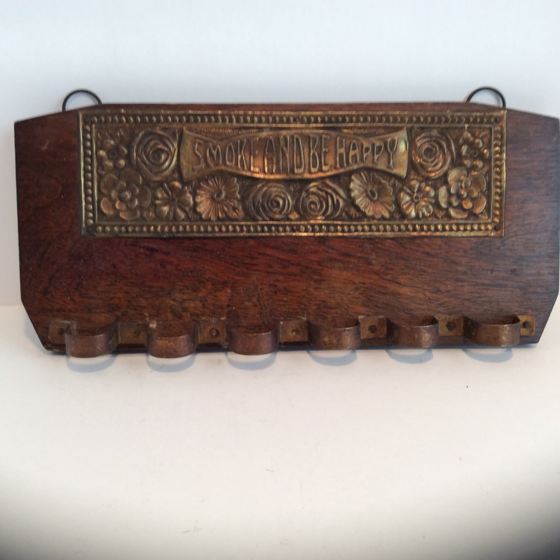 Antique brass and oak SMOKE AND BE HAPPY PIPE RACK
