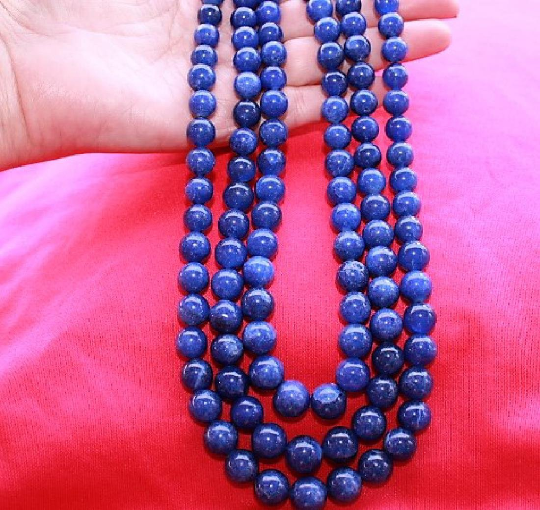 EARTH MINED 3 LINE BLUE SAPPHIRE BEADS NECKLACE