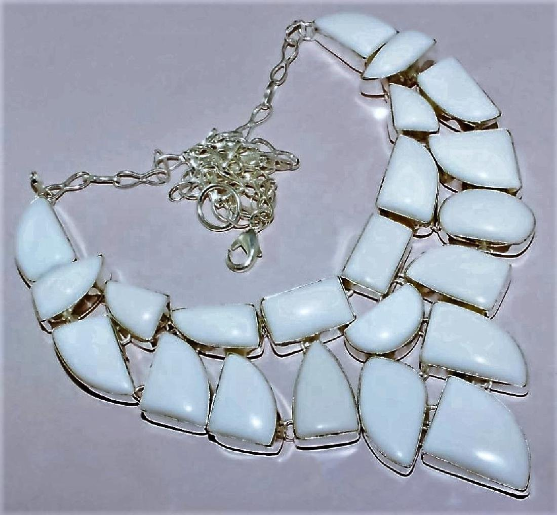 White CORAL Silver Necklace