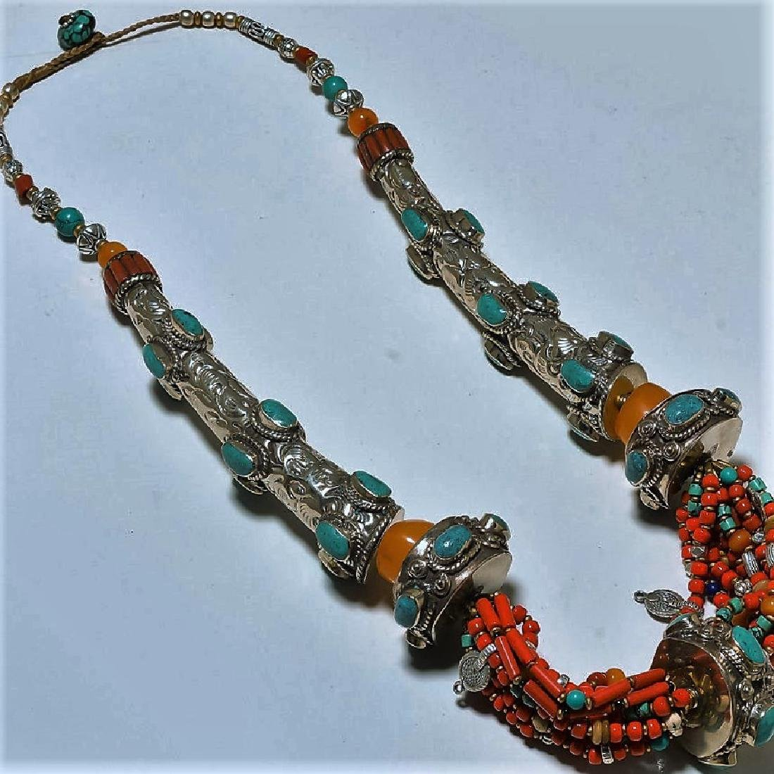 Nepalese Turquoise Red Yellow Coral Silver Necklace