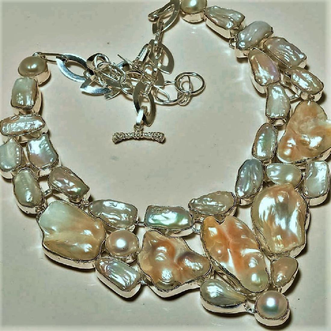 Biwa Pearl Silver Necklace