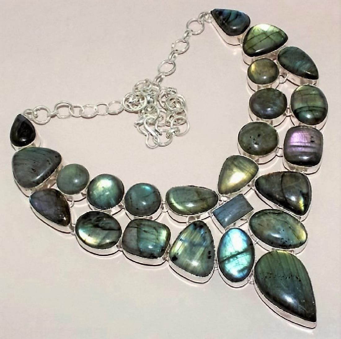 Blue Fire Labradorite Silver Necklace